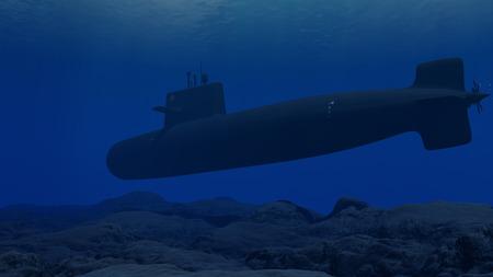 3D Illustration of a submarine patrolling close to the ocean floor Stockfoto