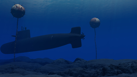3D Illustration of a submarine passing through a minefield