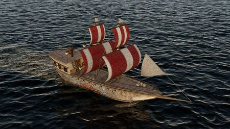 3D Illustration of an old wooden warship on the ocean