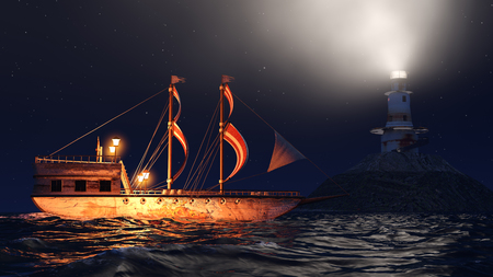 3D Illustration of an old wooden warship sailing by night close to lighthouse