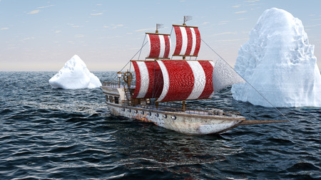 3D Illustration of an old wooden warship travelling in the Arctic ocean
