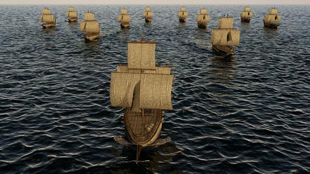 3D Illustration of old wooden warships fleet on the ocean Stockfoto