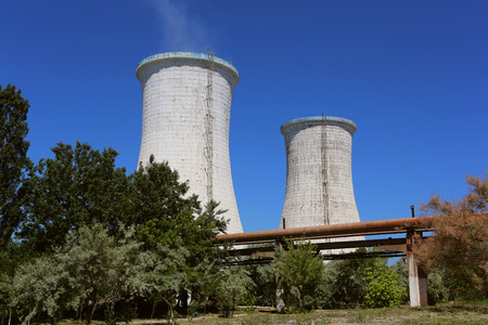 Cooling towers of an alumina refinery plant