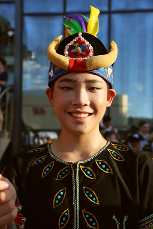 TULCEA, ROMANIA - AUGUST 08: Chinese dancer in traditional costume at the International Folklore Festival for Children and Youth - Golden Fish on August 08, 2018 in Tulcea, Romania.
