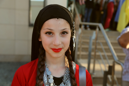 TULCEA, ROMANIA - AUGUST 08: Georgian dancer in traditional costume at the International Folklore Festival for Children and Youth - Golden Fish on August 08, 2018 in Tulcea, Romania. Redactioneel