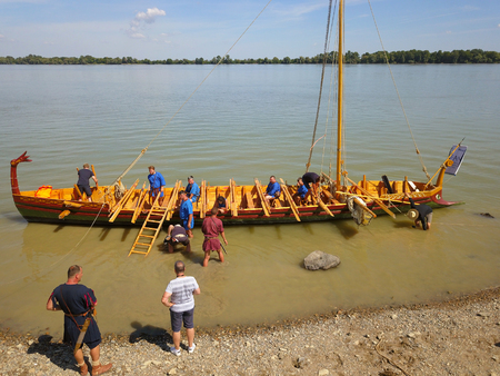 ISACCEA, ROMANIA - AUGUST 12: Liburna, Roman warship on the Danube river inside the project Relive History third edition on August 12, 2018 in ISACCEA, Romania.