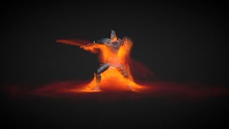 3D Illustration of a warrior using fire magic attack