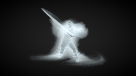 3D Illustration of a warrior using ice magic attack Stockfoto - 109557611