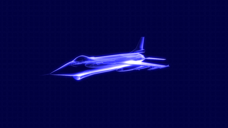 3D illustration of a fighter jet hologram