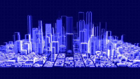 3D illustration of a holographic city