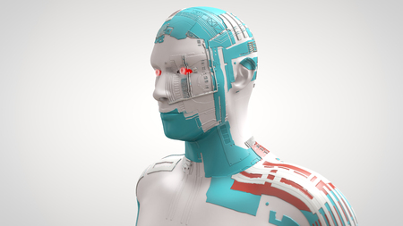 3D Illustration of a cyborg male