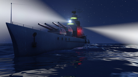 3d illustration of a battleship in the open ocean by night with the searchlights on Stockfoto - 117582590