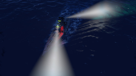 3d illustration of a battleship in the open ocean by night with the searchlights on Фото со стока