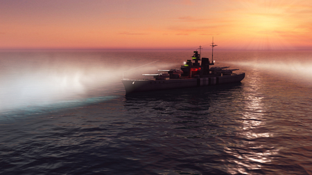 3d illustration of a battleship in the open ocean at sunset with the searchlights on