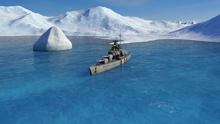 3d illustration of a battleship in the Arctic ocean Фото со стока