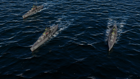 3d illustration of three warships in a battle group formation at sea Фото со стока