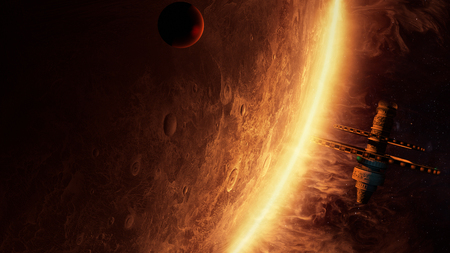 3d illustration of an alien space station orbiting  a planet with amazing atmosphere Фото со стока