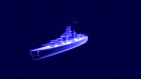 3d illustration of a battleship hologram