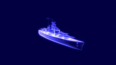 3d illustration of a battleship hologram