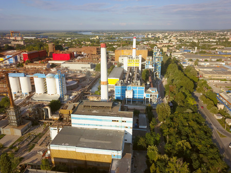 Alumina processing plant, aerial view