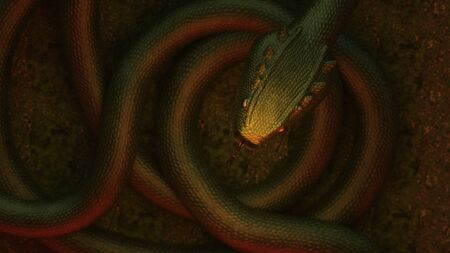 3D illustration of a giant dragon snake Stockfoto