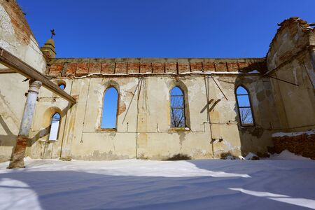 Ruins of an old church in winter