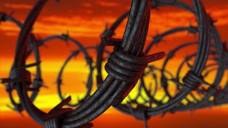 3d Illustration of a prison barbed wire fence at sunset, close-up view