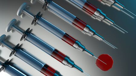 3d Illustration of medical syringes used for blood transfusion