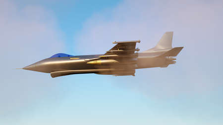3D illustration of a fighter jet flying through clouds Stockfoto