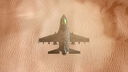 3D illustration of a fighter jet flying over desert