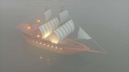 3D Illustration of an old wooden warship on a foggy river