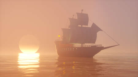 An old wooden warship on a foggy sea at sunset