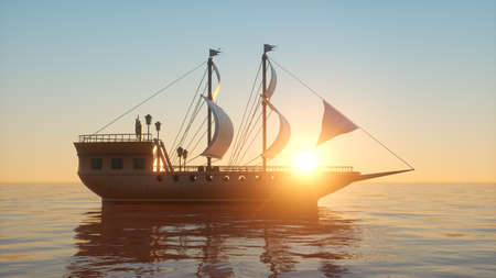 An old wooden warship on the ocean at sunset