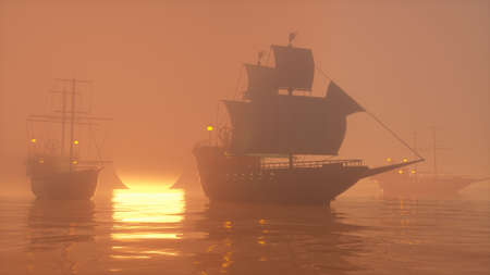 3D Illustration of old wooden warships fleet on a foggy ocean at sunset