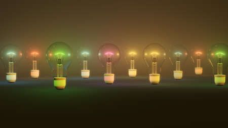 Colored light bulbs background, 3d Illustration