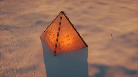 3D Illustration of an ancient alien pyramid