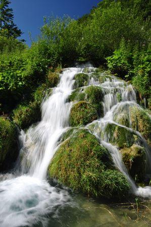 Small waterfall in Plitvice national park, Croatia Stock Photo