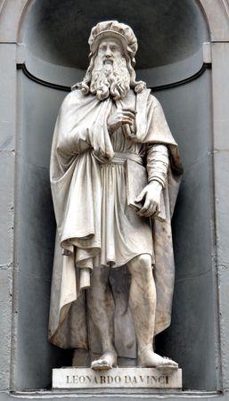 Leonardo Da Vinci Statue in Florence Stock Photo