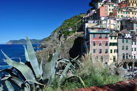Riomaggiore fishermen village in Cinque Terre, Italy photo