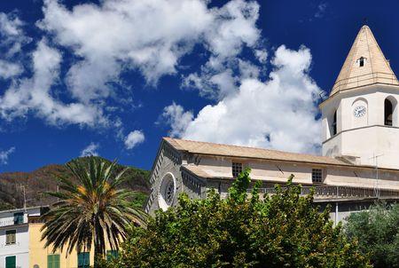 Corniglia church in Cinque Terre, Italy photo