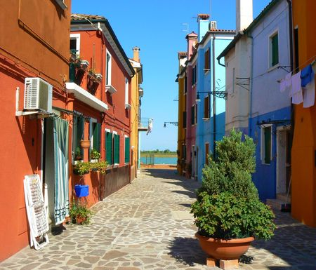 Colorful houses in Burano island, Italy