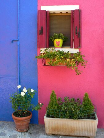 Colorful houses in Burano island, Venice, Italy Stock Photo