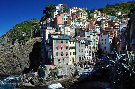 Riomaggiore fishermann village in Cinque Terre, Italy Stock Photo