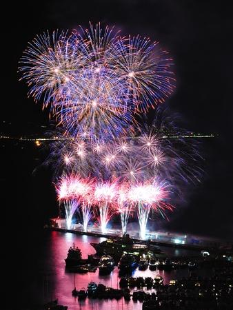 Flower shaped fireworks in Monte Carlo harbor