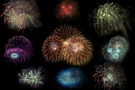 Isolated colorful fireworks on black background Stock Photo