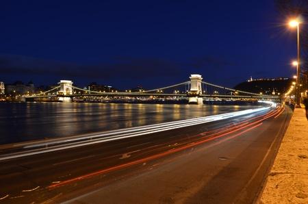 Budapest chain bridge panorama by night photo