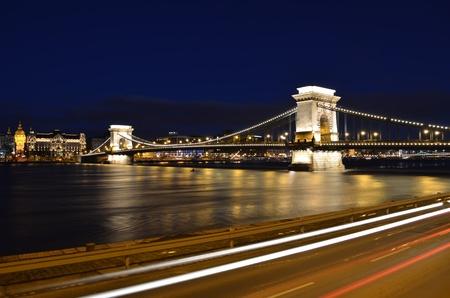 Budapest chain bridge panorama by night