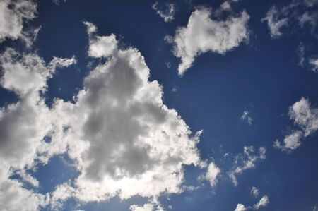 White clouds on blue sky on a sunny day