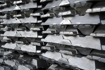 Stack of raw aluminium ingots in aluminium profiles factory Stock Photo - 8871568