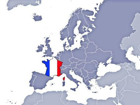 Map of Europe indicating the position of France  Stock Photo